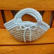 ミニ 編みバッグ リネン × 水色 34cmサイズ