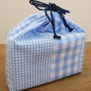 給食袋 給食 巾着 3種のギンガムチェック 21×24×6 折りマチ