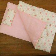 人形用 布団セット ピンク バラ模様 28cmサイズ