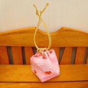 和風巾着 金魚柄 ピンク 34cmサイズ