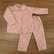長袖 パジャマ ピンク 花柄 丸衿 28cmサイズ