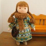 ノルディック柄ワンピース 茶色のマフラー 女の子 セット LB4-3 28cmサイズ