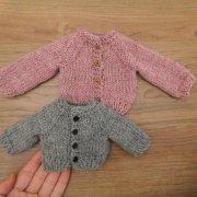人形用 カーディガン ウール ピンク グレー 28cmサイズ