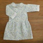 丸衿 ワンピース 小花模様 ブルー系 34cmサイズ