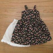 サンドレス 黒 小花模様 ペチコート セット 28cmサイズ