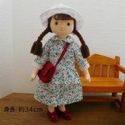 いちご柄ワンピース 白い帽子 女の子 セット BR3-3 34cmサイズ