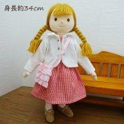 ギンガムワンピース ニットジャケット 女の子 LB7-2 34cmサイズ