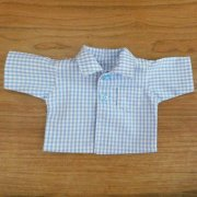 半袖シャツ 男の子タイプ ギンガムチェック 水色 28cmサイズ