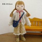 布 人形 着せ替え ギンガムブラウス モヘア カーディガン 女の子 LB3-2 34cmサイズ