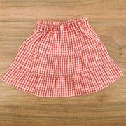 ギンガムチェックのティアードスカート 赤 28cmサイズ