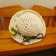 麦わら風 編み帽子 オフ 28cmサイズ