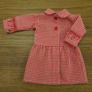 丸衿 ワンピース 赤 ギンガムチェック スモッキング 34cmサイズ
