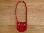 コーデュロイ ポシェット 赤 刺繍 34cmサイズ