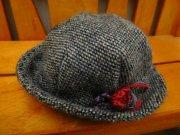ツィードの帽子・黒・34cmサイズ