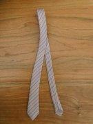 人形用 ネクタイ ライトグレー ストライプ 34cmサイズ