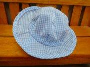 帽子 つば広 ギンガムチェック 水色 34cmサイズ