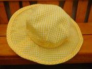 帽子 つば広 ギンガムチェック 黄色 34cmサイズ