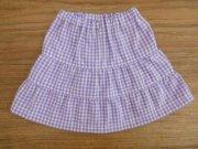 ティアードスカート ギンガムチェック パープル 28cmサイズ