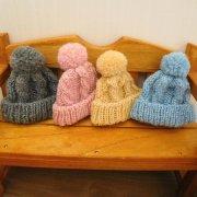 人形用 ニット帽 縄編み 28cmサイズ