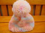 人形用 ニット帽 パステルレインボー 28cmサイズ
