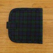 布の財布  二つ折り 紺チェック