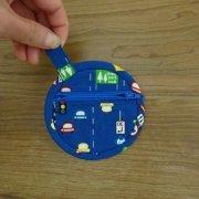 布の財布 コインパース ブルー 車柄