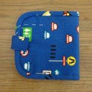 布の財布 二つ折り ブルー 車柄