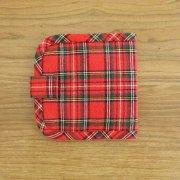 布の財布 タータンチェック 二つ折り 赤