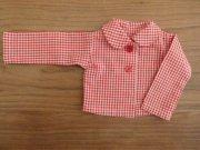 ギンガムチェック 丸衿 ブラウス 赤 34cmサイズ