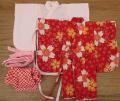 女の子用着物セット・赤の桜ちらし