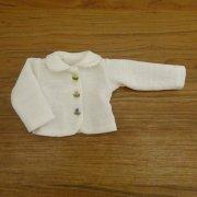 ピコ衿 ニットジャケット 刺繍 オフホワイト 34cmサイズ
