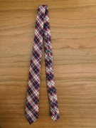 人形用 ネクタイ 赤系チェック 34cmサイズ