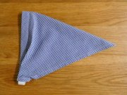 ミニギンガムチェックの子ども用三角巾・紺・ゴムタイプ