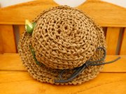 麦わら風 編み帽子 ブラウン 28cmサイズ
