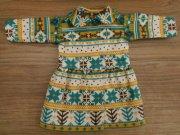 ノルディック柄 丸衿 ワンピース 緑系 28cmサイズ