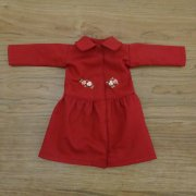 丸衿 ワンピース バラの刺繍 赤 34cmサイズ