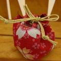 和風巾着 赤 桜ちらし 28cmサイズ
