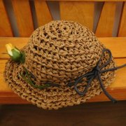 麦わら風 編み帽子 ブラウン 34cmサイズ