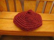 人形用 手編み ベレー帽 赤 28cmサイズ
