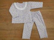 人形用 長袖 パジャマ 小花模様 パープル レース 34cmサイズ