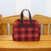 ミニ 旅行 バッグ 赤 チェック 34cmサイズ