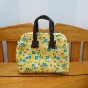 ミニ 旅行 バッグ 黄色 花柄 34cmサイズ
