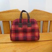 ミニ 旅行 バッグ 赤 チェック 28cmサイズ