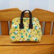 ミニ 旅行 バッグ 黄色 花柄 28cmサイズ