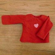 長袖Tシャツ 赤 ハート 28cmサイズ