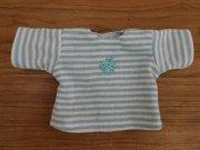Tシャツ 半袖 カットソー 水色 ボーダー りんご 28cmサイズ
