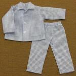水色チェックのパジャマ・長袖・28cmサイズ