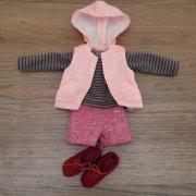 人形用 ボーダーTシャツ フードベスト ショートパンツ 女の子向けセット 34cmサイズ