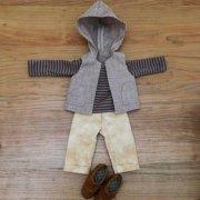 人形用 ボーダーTシャツ フードベスト クロップドパンツ 男の子向けセット 34cmサイズ