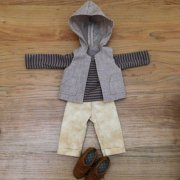 人形用 ボーダーTシャツ フードベスト クロップドパンツ 男の子向けセット 28cmサイズ